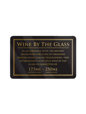 175 & 250ml Wine by the Glass Bar Notice - Frame Options