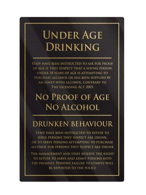 Under Age Drinking Notice - Frame Options