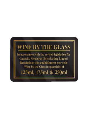 125, 175 & 250ml Wine by the Glass Bar Notice - Frame Options