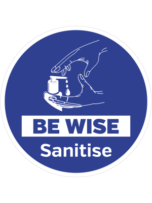 Be wise sanitise floor graphic