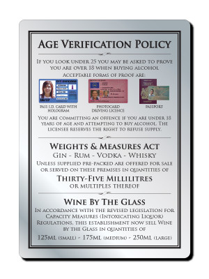 35ml 3 Part Age Verification Policy Notice - Frame Options