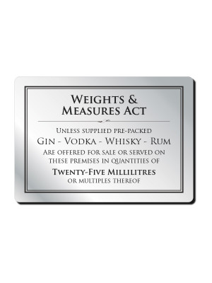 25ml Weights & Measures Act Notice - Frame Options
