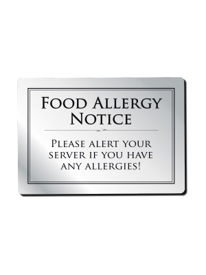 Food Allergy Bar Notice - Frame Options