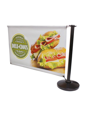 Single Sided Black Steel Cafe Barrier System - Add-On Set - Multiple Sizes