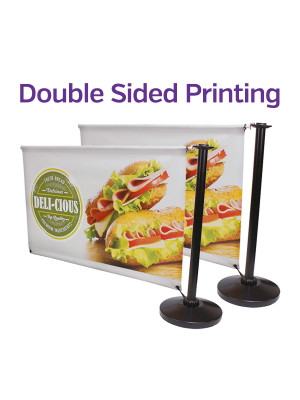 Double Sided Black Steel Cafe Barrier System - Add-On - Multiple Sizes