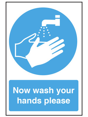Now Wash Your Hands Please Notice - CS009