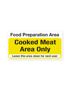 Cooked Meat Area Only Notice - CS035