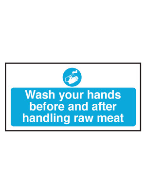 Wash Your Hands Before and After Handling Raw Meat Notice - CS113