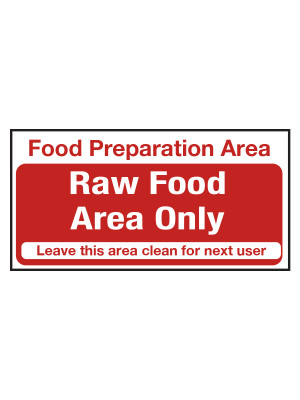 Raw Food Area Only Notice - CS120