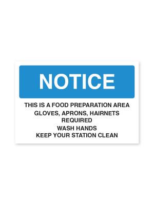 Food Preparation Area - Staff Food Hygiene Notice
