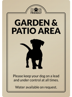Dog Friendly Garden & Patio Area - Exterior Sign