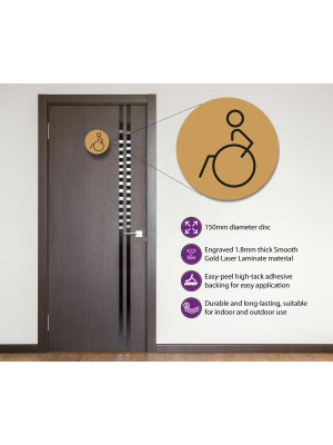 Disabled Toilet Door Symbol Left 150mm Gold