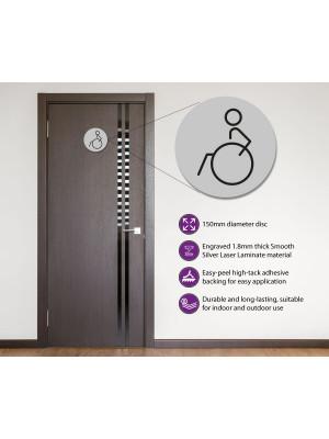 Disabled Toilet Door Symbol Left 150mm Silver