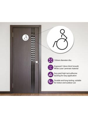 Disabled Toilet Door Symbol Left 150mm White