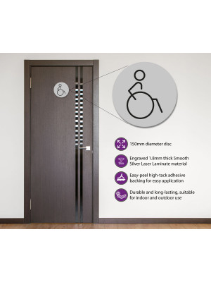 Disabled Toilet Door Symbol Right. 150mm Silver