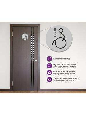Disabled & Baby Change Toilet Door Symbol Left 150mm Silver