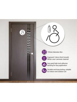 Disabled & Baby Change Toilet Door Symbol Left 150mm White