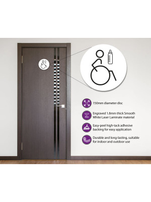 Disabled & Baby Change Toilet Door Symbol Right 150mm White