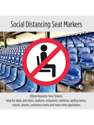 Do Not Sit Here Social Distancing seat markers. Packs of 10