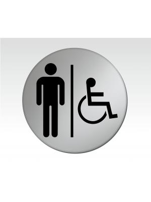 Gents & Disabled 75mm Diameter Satin Silver Toilet Door Disc - DS004