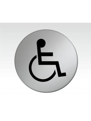 Disabled Symbol 75mm Diameter Satin Silver Toilet Door Disc - DS006