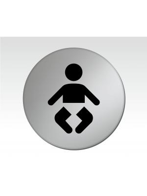 Baby Changing Symbol 75mm Diameter Satin Silver Toilet Door Disc - DS007