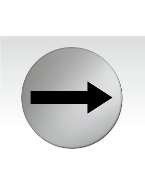 Arrow Symbol 75mm Diameter Satin Silver Toilet Door Disc - DS008