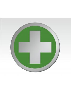 First Aid Symbol 75mm Diameter Satin Silver Toilet Door Disc - DS014