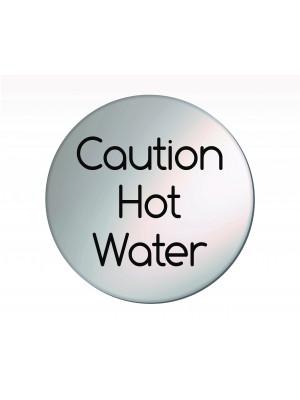 Caution Hot Water 75mm Diameter Satin Silver Door Disc - DS033