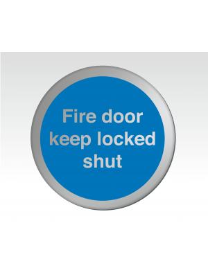 Fire Door Keep Locked Shut 75mm Diameter Satin Silver Door Disc - DS038