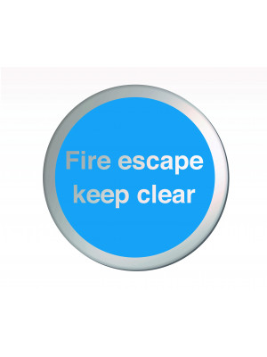 Fire Escape Keep Clear 75mm Diameter Satin Silver Door Disc - DS040