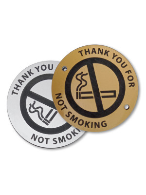 Laser Engraved Gold/Silver No Smoking with text & Symbol Disc - 60mm