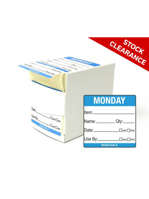 50mm Monday Food Preparation Rotation Label. 500 per roll Boxed