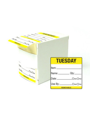 DY058 - 50mm Tuesday Food Preparation Rotation Label. 500 Per Roll (Boxed)