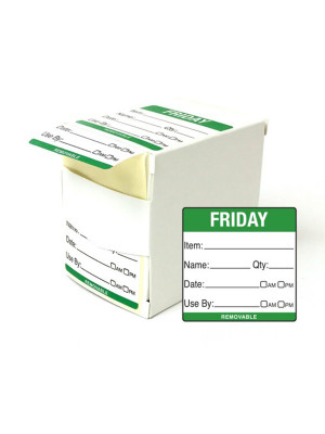 DY061 - 50mm Friday Food Preparation Rotation Label. 500 Per Roll (Boxed)