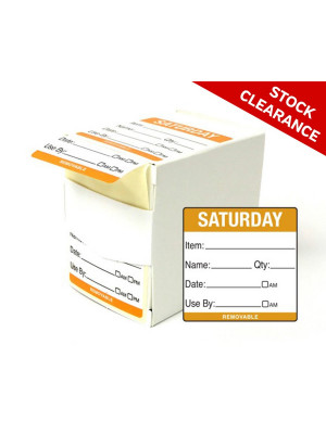 50mm Saturday Food Preparation Rotation Label. 500 per roll Boxed - DY062