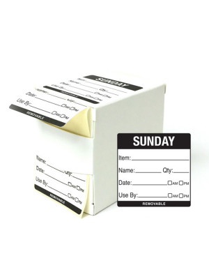DY063 - 50mm Sunday Food Preparation Rotation Label. 500 Per Roll (Boxed)
