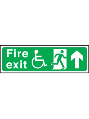Disabled Fire Exit Arrow Up 150x450mm