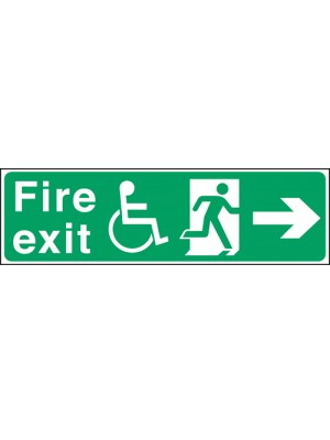 Disabled Fire Exit Arrow Right 150x450mm