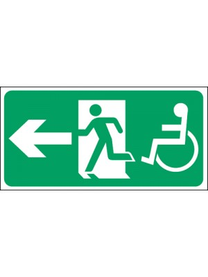 Disabled Exit Arrow Left 150x300mm