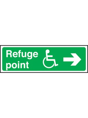 Disabled Refuge Point Arrow Right 150x450mm