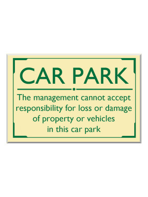 Exterior Wall Mounted Car Park Disclaimer Notice - Multiple Options
