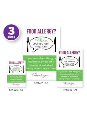 Customer Allergy Awareness 'Please Ask Before You Eat' Pub & Café Notice (2 x Display Options)