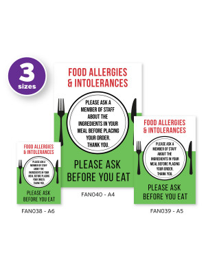 Food Allergies & Intolerance, Please Ask a Member of Staff about Ingredients Cafe & Pub Notice (2 x Display Options)