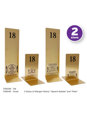 Brushed Gold Allergy Awareness Table Numbers. Suitable for Pubs, Cafes and Restaurants