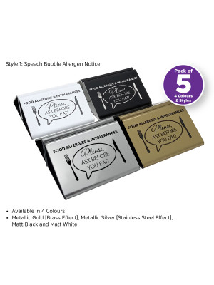 Laser Engraved Allergen Advice Menu Holders - Pack of 5 - 4 Colours to Choose from. Perfect for Cafes, Bars & Restaurants