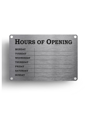 Silver Open & Closed Business Hours Notice - FD145