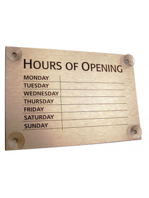 Gold Open & Closed Business Hours Notice - FD146