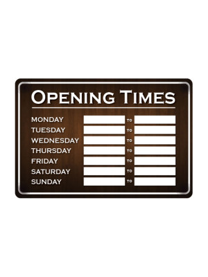 Wood Effect Open & Closed Business Hours Notice - FD163