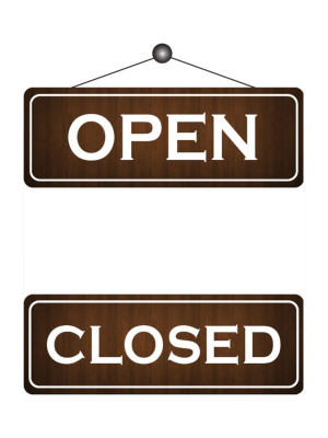 Wood Effect Open & Closed Notice - FD164